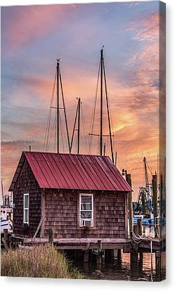 Old Boathouse On Shem Creek Canvas Print by Donnie Whitaker