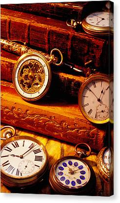 Old Books And Pocket Watches Canvas Print by Garry Gay