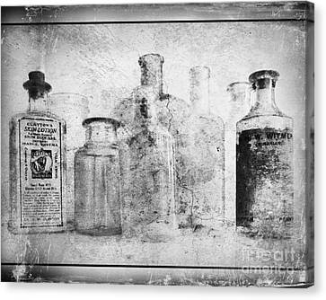 Old Bottles With Texture  Bw Canvas Print by Barbara Henry