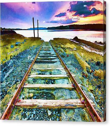 Old Broken Railway Track Watercolor Canvas Print by Marian Voicu