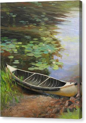 Old Canoe Canvas Print by Anna Rose Bain
