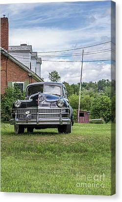 Old Car In Front Of House Canvas Print by Edward Fielding