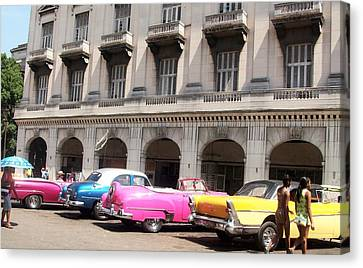Old Cars At The  Old Havana Canvas Print by Esther Pedraza