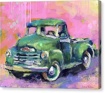 Old Chevy Chevrolet Pickup Truck On A Street Canvas Print by Svetlana Novikova