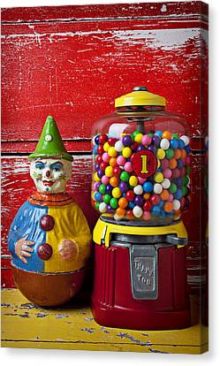 Old Clown Toy And Gum Machine  Canvas Print by Garry Gay