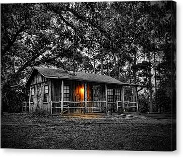 Old Country Cabin Glow Canvas Print by Tim Stanley
