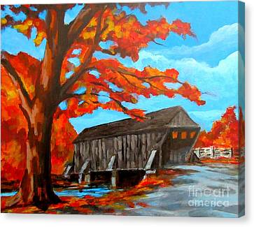 Old Covered Bridge In The Fall Canvas Print by John Malone