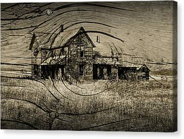 Old Farm House With Wood Grain Overlay Canvas Print by Randall Nyhof
