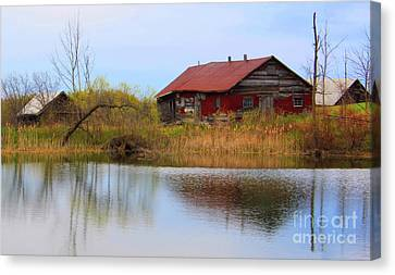Old Farm Houses Canvas Print by Anthony Djordjevic