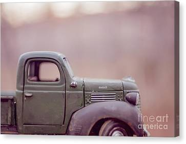 Old Farm Truck At Sunset Canvas Print by Edward Fielding