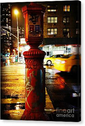 Old - Fashioned Fire Alarm Police Call Box - New York City Canvas Print by Miriam Danar