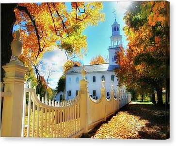 Old First Church Of Bennington Canvas Print by Thomas Schoeller