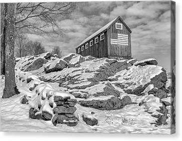 Old Glory Winter Bw Canvas Print by Bill Wakeley
