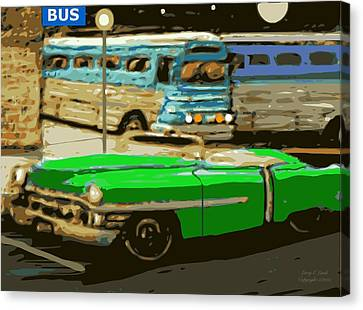 Old Grayhound Bus Station Canvas Print by Larry Lamb