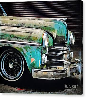 Old Green Car Canvas Print by Amy Cicconi
