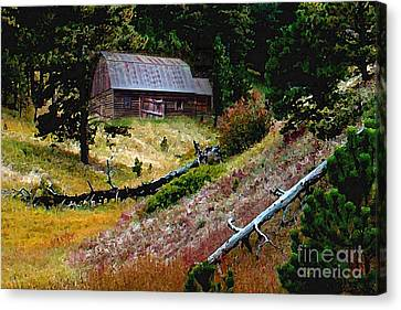 Old Horse Barn In The Draw Canvas Print by Terril Heilman