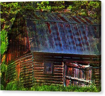 Old Horse Barn In The Pines Canvas Print by Terril Heilman