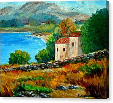 Old House In Mani Canvas Print by Constantinos Charalampopoulos