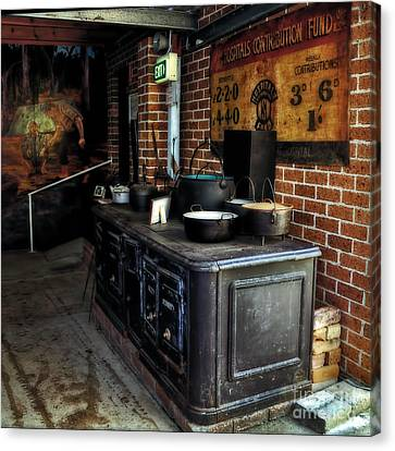 Old Iron Stove - Oven Canvas Print by Kaye Menner