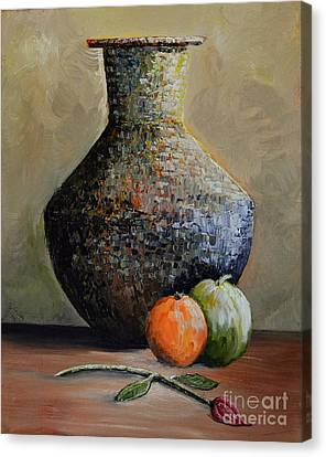 Old Jug And Fruit Canvas Print by Martin Schmidt