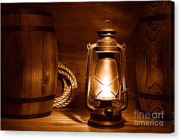Old Kerosene Lantern - Sepia Canvas Print by Olivier Le Queinec