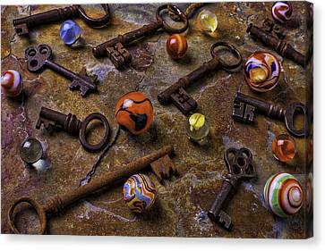 Old Keys And Marbles Canvas Print by Garry Gay