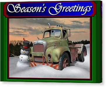 Old Mack Christmas Card Canvas Print by Stuart Swartz