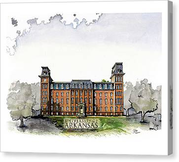 Old Main Of University Of Arkansas Diploma Size Canvas Print by Yang Luo-Branch