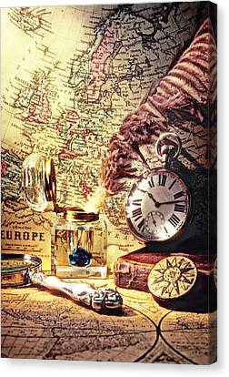 Old Maps And Ink Well Canvas Print by Garry Gay