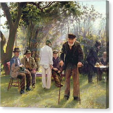 Old Men In Rockingham Park Canvas Print by Walter Bonner Gash
