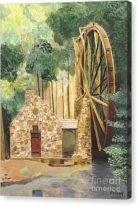 Canvas Print featuring the painting Old Mill At Berry College by Rodney Campbell