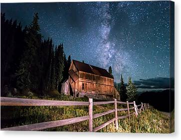 Old Mining Camp Under Milky Way Canvas Print by Michael J Bauer