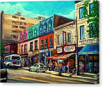 Old Montreal Schwartzs Deli Plateau Montreal City Scenes Canvas Print by Carole Spandau