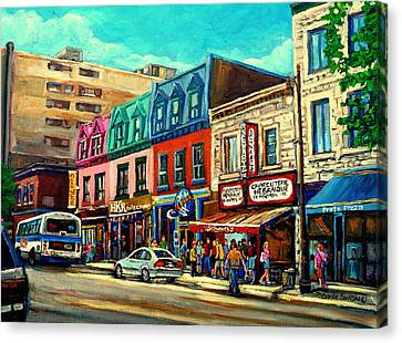 Old Montreal Schwartzs Deli Plateau Montreal City Scenes Canvas Print by Carole Spandau