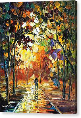 Old Park 3 - Palette Knife Oil Painting On Canvas By Leonid Afremov Canvas Print by Leonid Afremov