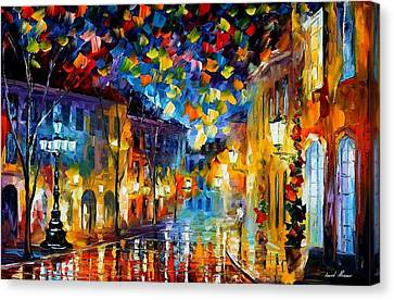 Old Part Of Town - Palette Knife Oil Painting On Canvas By Leonid Afremov Canvas Print by Leonid Afremov