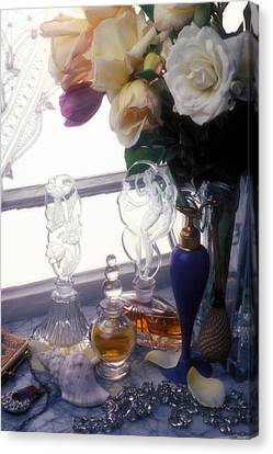 Old Perfume Bottles Canvas Print by Garry Gay