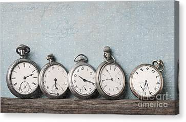 Old Pocket Watches On A Shelf Textured Canvas Print by Edward Fielding
