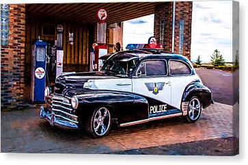 Old Police Cruiser Canvas Print by Sharon Vallentiny
