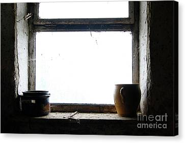 Old Pots And Stoneware Jar On Window Canvas Print by Michal Boubin