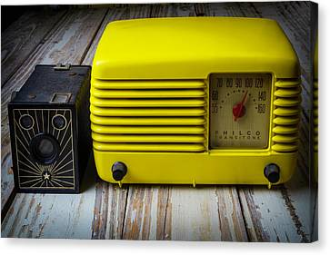 Old Radio And Camera Canvas Print by Garry Gay