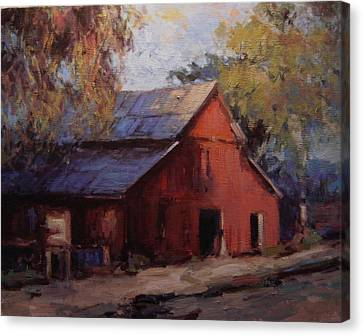 Old Red Barn In The Shadows Canvas Print by R W Goetting