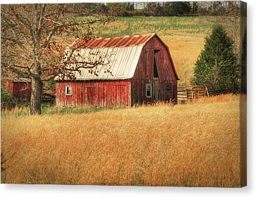 Old Red Barn Canvas Print by Tamyra Ayles