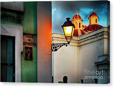 Old San Juan Street Corner With A Cathedral Canvas Print by George Oze