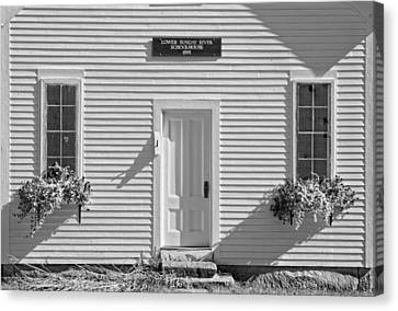 Old Schoolhouse Sunday River Maine Black And White Canvas Print by Keith Webber Jr