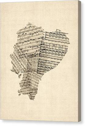 Old Sheet Music Map Of Ecuador Map Canvas Print by Michael Tompsett