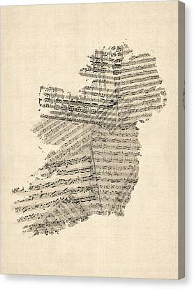 Old Sheet Music Map Of Ireland Map Canvas Print by Michael Tompsett