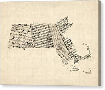 Old Sheet Music Map Of Massachusetts Canvas Print by Michael Tompsett