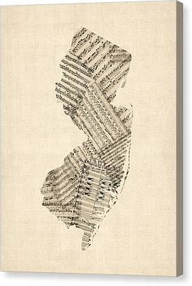 Old Sheet Music Map Of New Jersey Canvas Print by Michael Tompsett