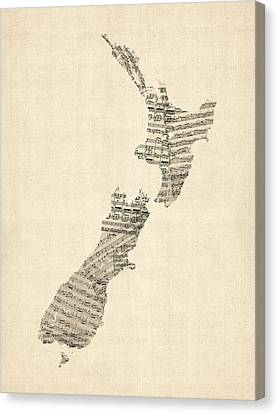 Old Sheet Music Map Of New Zealand Map Canvas Print by Michael Tompsett